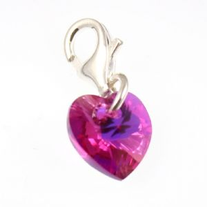 Charm School UK > Sterling Silver Clip On Charms > Swarovski Crystal Charms > Sterling Silver Fuchsia AB Crystal Heart Clip on Charm Made with Swarovski Elements
